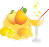 Fruits and glass with juice Stock Images