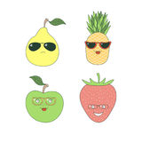 Fruits in glasses stickers royalty free illustration