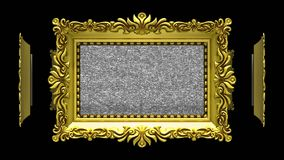 Fruits in gold picture frames. Fruits in ornate gold picture frames rotate in a circle on black background. Seamless loop, 3D animation with tv noise stock illustration