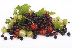 Fruits: gooseberries, black and red currants, cher Royalty Free Stock Image