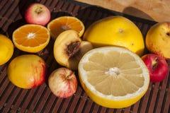 Fruits. Grape, nektarine, apple and satsuma, on a tablet Royalty Free Stock Photo