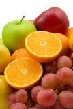 Fruits and grapes. Fruits isolated on the white background royalty free stock photo
