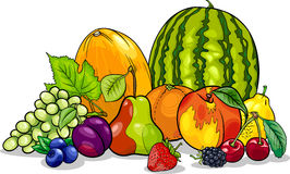 Fruits group cartoon illustration Stock Photography