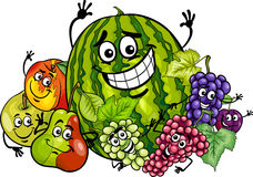 Fruits group cartoon illustration Royalty Free Stock Images