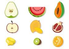 Fruits half. Illustration of fruits half: Green Pear Watermelon Papaya Apple Mango Pomegranate Lemon Kiwi Orange Stock Photography