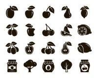 Fruits. harvesting. fruit trees. set of black icons Stock Images