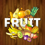 Fruits healthy food. Beautiful hand drawn illustration fruits on the wood textyre Stock Photography