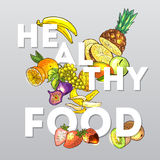 Fruits healthy food. Beautiful hand drawn poster fruits and typography Royalty Free Stock Photos