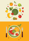 Fruits. Healthy vegetarian food, fruits dessert Royalty Free Stock Photo