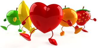 Fruits and heart Stock Photo