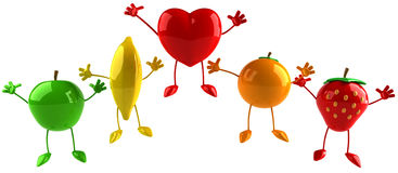 Fruits and heart Royalty Free Stock Images