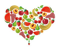 Fruits heart. An illustration of several colorful fruits Stock Photos