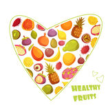 Fruits Heart Shape Retro Style Advertisement Stock Photos