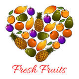 Fruits heart shape. Vector fresh fruits icons Stock Photos