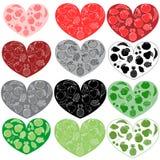 Fruits hearts. Set of 12 fruits hearts vectors Stock Image