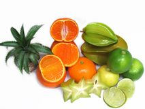 Fruits are high in vitamin C, such as citrus, oranges, lemons, s Stock Photography