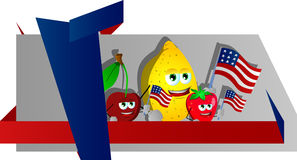 Fruits holding the flag of the USA label with blank ribbon Royalty Free Stock Images