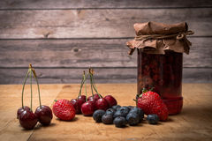 Fruits and Homemade Jam Stock Images