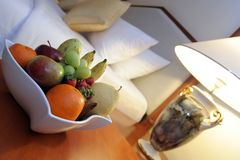 Fruits in hotel room royalty free stock image