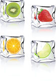 Fruits in ice cube icons for vista, xp, print.  Stock Photography