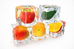 Fruits in ice cube isolated on white with depth of field effects. Ice cubes with fresh berries. Berries fruits frozen in. Ice cubes. 3D rendering Royalty Free Stock Images