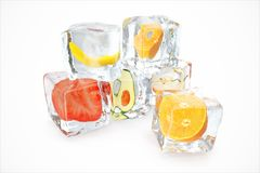 Fruits in ice cube isolated on white with depth of field effects. Ice cubes with fresh berries. Berries fruits frozen in. Ice cubes. 3D rendering Royalty Free Stock Photos