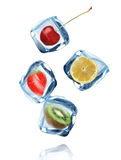 Fruits in Ice cubes splashing into the water stock images