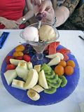 Fruits and ice cream cup Stock Image