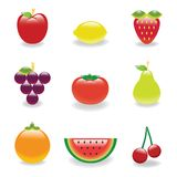 Fruits icon. And symbol with glass-like texture Stock Photography