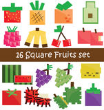 30 Fruits Icon in black tone Stock Images