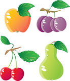 Fruits icon set. Ripe fruit icon set.  Isolated on a white background. Vector will be aditional Royalty Free Stock Photo