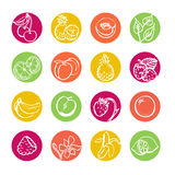 Fruits icon set Royalty Free Stock Images