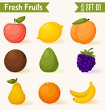 Fruits icon set. Colorful template for cooking, Stock Images