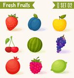 Fruits icon set. Colorful template for cooking, Royalty Free Stock Photos