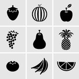 Fruits icon set. Vector EPS10. Stock Images