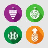 Fruits icon set. Vector EPS10. Stock Image
