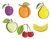 Fruits icons Stock Photos