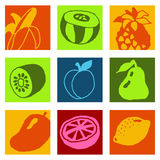 Fruits icons 2 Stock Photos