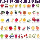 Fruits icons. Fruits icons art. Stock Photos