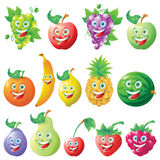 Fruits icons cartoon character set Royalty Free Stock Photo
