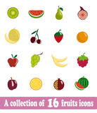 Fruits icons. A collection of 16 fruits icons Royalty Free Stock Photography