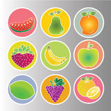 Fruits icons. Different fruits icons on circles with different color Royalty Free Stock Images