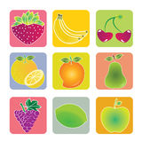Fruits icons. Different fruits icons on squares with different color Royalty Free Stock Photos