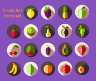 Fruits icons flat Royalty Free Stock Images