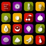 Fruits icons flat Royalty Free Stock Image