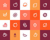 Fruits Icons. Flat Style Stock Photo