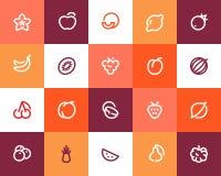 Fruits icons. Flat style Stock Photo