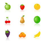Fruits icons with reflection Royalty Free Stock Photos