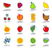 fruits icons set Royalty Free Stock Photo