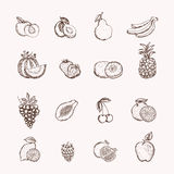 Fruits icons set Stock Photos